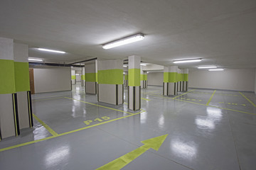 Underground car park with columns
