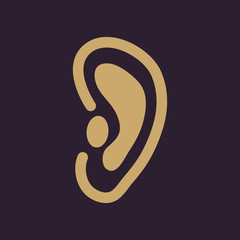 The ear icon. Listen symbol. Flat