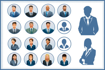 Character international businessman and woman.Character design.White background .Avatar Business design.Illustration for idea of business.Approach to communication for business. EPS 10.