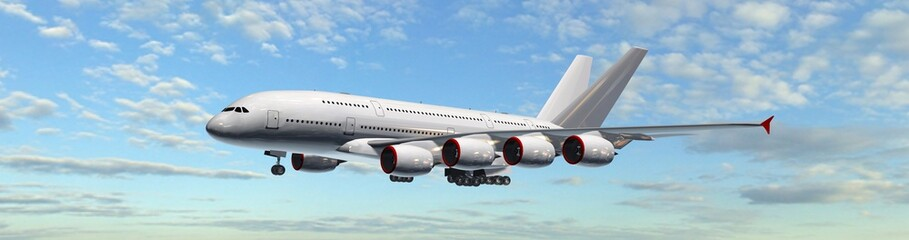 Modern Passenger Airplane fly in the sky - panorama