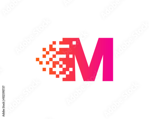 Letter M Pixel Motion Logo Design Template