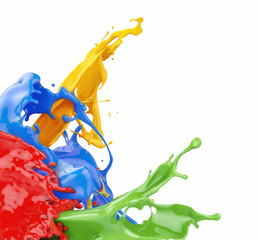 Wall Mural - splashing colors on white background