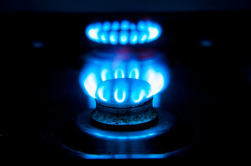 Gas cooker on a blue gas stove