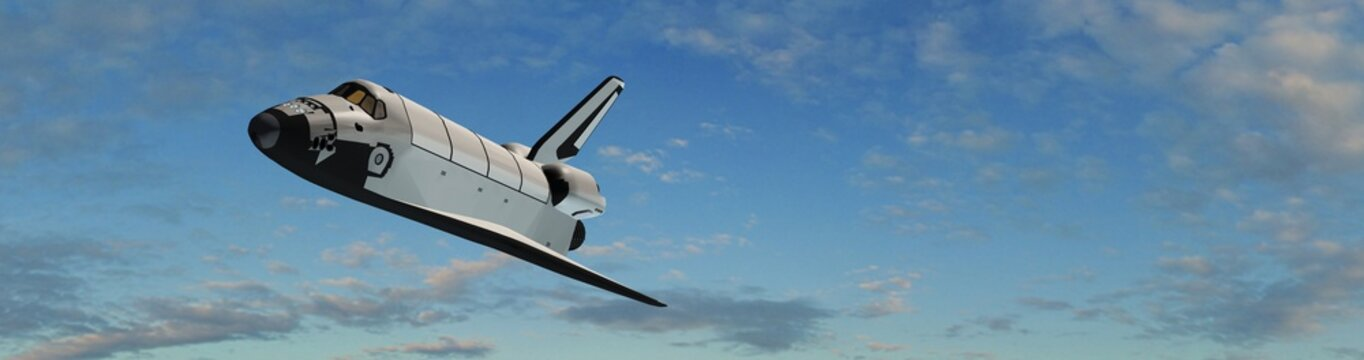 Space Shuttle fly in the sky - panorama