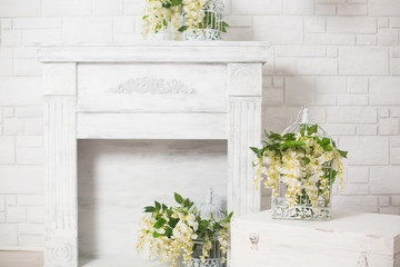 flowers, fireplace