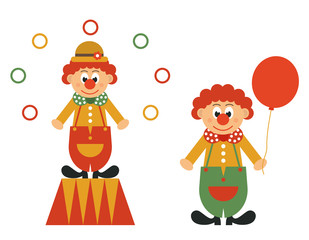 Poster Ridders clown on a pedestal and clown with ball