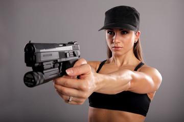 Fit model shooting at range