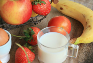 Fresh milk with fruit
