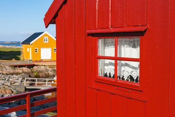 Wall Mural - Red boathouse at the harbor