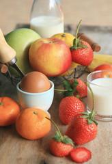 Fresh milk with fruit