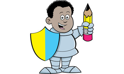 Cartoon illustration of an African boy dressed as a knight and holding a pencil.