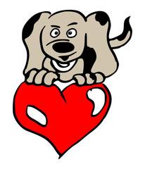 hondje met groot rood hart