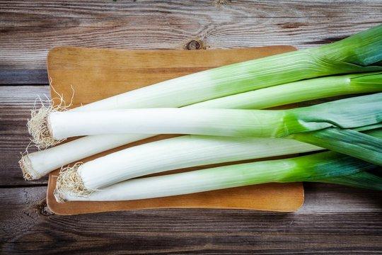 Fresh raw organic leek