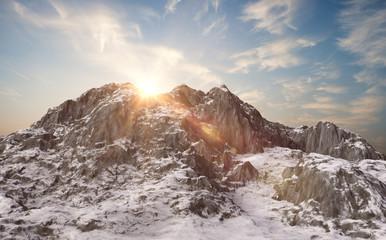 Snowy mountains. Winter landscape