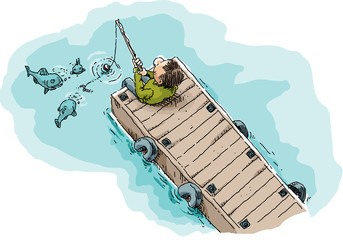 Cartoon illustration of a single man sitting and fishing on a long, wood dock showing fish attracted by the worm on the fishhook.