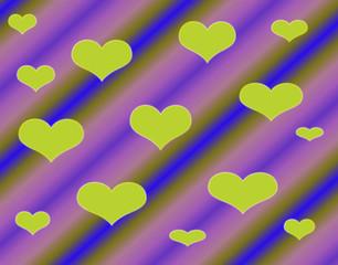 Абстрактный разноцветный фон с сердцами.