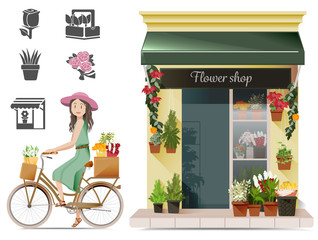 Lady shopping flowers by a bicycle.Reducing traffic by driving a bicycle.Conservatives urban concept.Exercise in routine.Basic icon for flower shop.Bike for lady shopping.Ladies love nature.EPS 10.