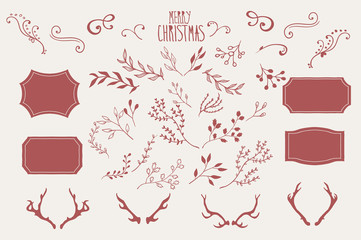Hand Drawn Design Elements for Christmas Cards