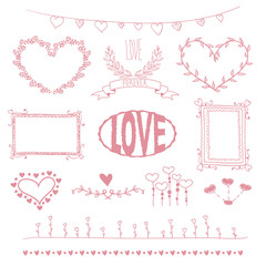 Hand Drawn Set of love doodle