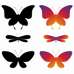 silhouettes of butterflies, wector drawing