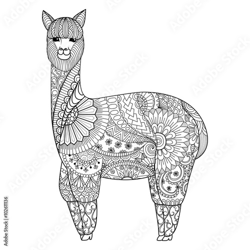 Volwassen Zen Kleurplaat Quot Alpaca Zentangle Design For Coloring Book For Adult Logo