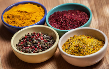 Different appetizing relishes in jam dishes