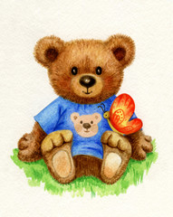 Cute baby bear holding butterfly, watercolor.