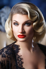 vintage portrait of elegant blonde with hairdo wave