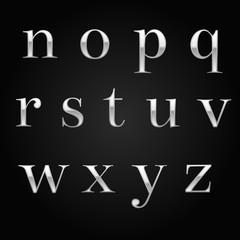 glossy silver font design set over black