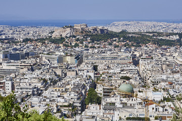 Greece, acropolis and Athens cityscape scenic view