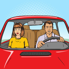 Family couple in car pop art style vector