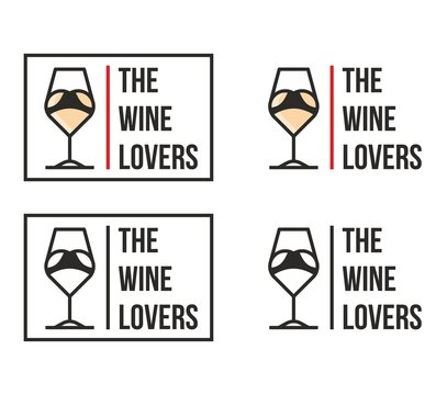 Wine shop logotype linear abstract vector style