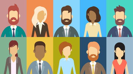 Profile Avatar Set Icon Business People, Portrait Businesspeople Collection Face