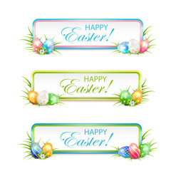Easter banners with multicolored eggs