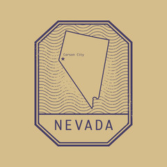 Stamp with the name and map of Nevada, United States