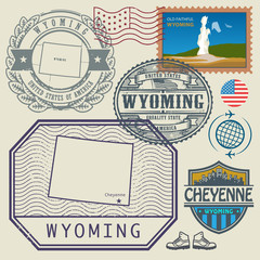 Stamp set with the name and map of Wyoming, United States
