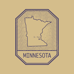 Stamp with the name and map of Minnesota, United States