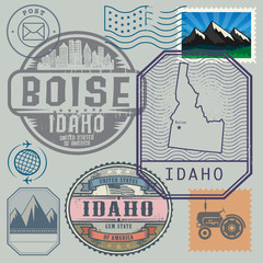 Stamp set with the name and map of Idaho, United States
