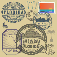 Stamp set with the name and map of Florida, United States