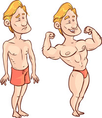 Vector illustration of a poor man, muscular man drawing
