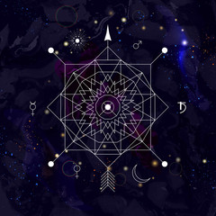 Abstract mystical geometry symbol. Linear alchemy, occult, philosophical sign.