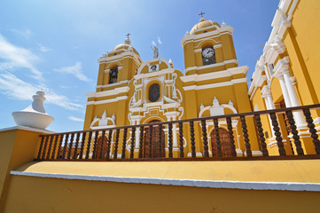 Magnificent yellow cathedral with blue sky in Trujillo, Peru