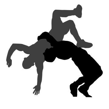 Silhouette of Greek Roman wrestling