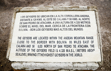 Stone Plate of text about  Geysers El Tatio