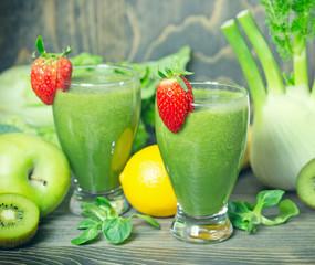 Healthy refreshing drink - green smoothie freshly prepared