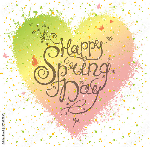 Happy Spring Day Heart Shape Of Grass Flowers And