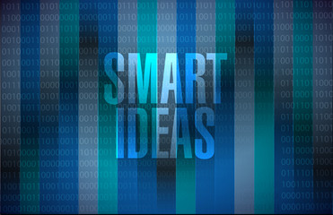smart ideas data binary background sign concept