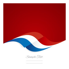 Abstract French flag ribbon red background