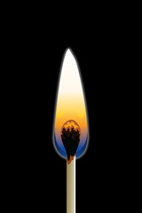 Match Burning is an illustration of a single match burning with a black background.