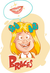 Vector illustration of a little girl with braces illustration